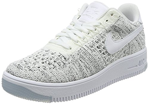 NIKE Women's AF1 Flyknit Low White/White/Black Casual Shoe 7 Women (Nike Af1 Shoes)