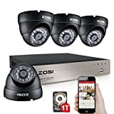 ZOSI 4CH Security Camera System 720P HD DVR with 4x 1280TVL Superior Night Vision IR Cut Leds indoor outdoor CCTV Camera 1TB Hard Drive, Motion Alert, Smartphone& PC Easy Remote Access
