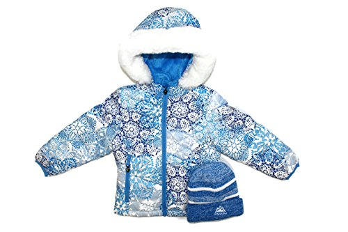Snozu Girls Hooded Ultra Clean Hypoallergenic Down Jacket Coat and Hat (Blue Pattern, 6) Free Jacket Patterns