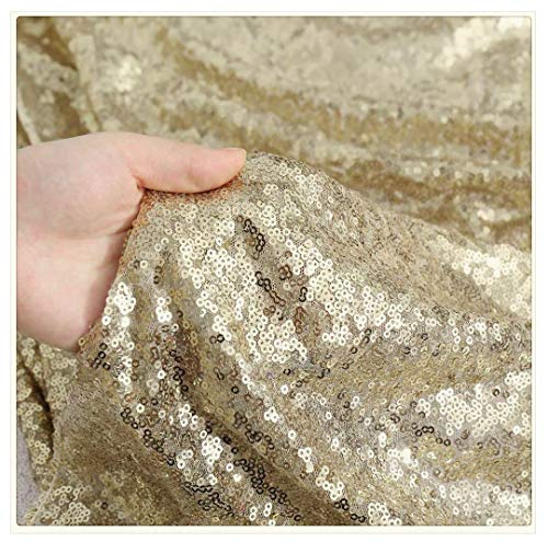 QueenDream Sequin Overlay Matte Gold Sparkly Fabric Sequin Tablecloth Cover Glitz Table Linen Sparkle Sequin Linens