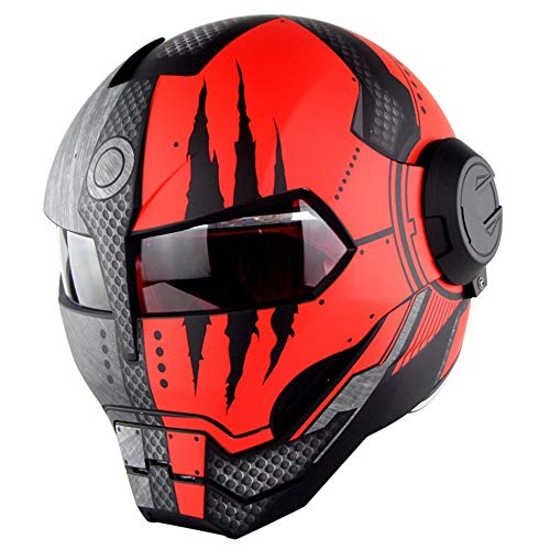 WWtoukui Avengers Motorcycle Helmet,Personality Cool Locomotive Motorcycle Front Flap Full Face Helmet,DOT Certified Helmet Four Seasons Universal/Matte,XL:61~62cm