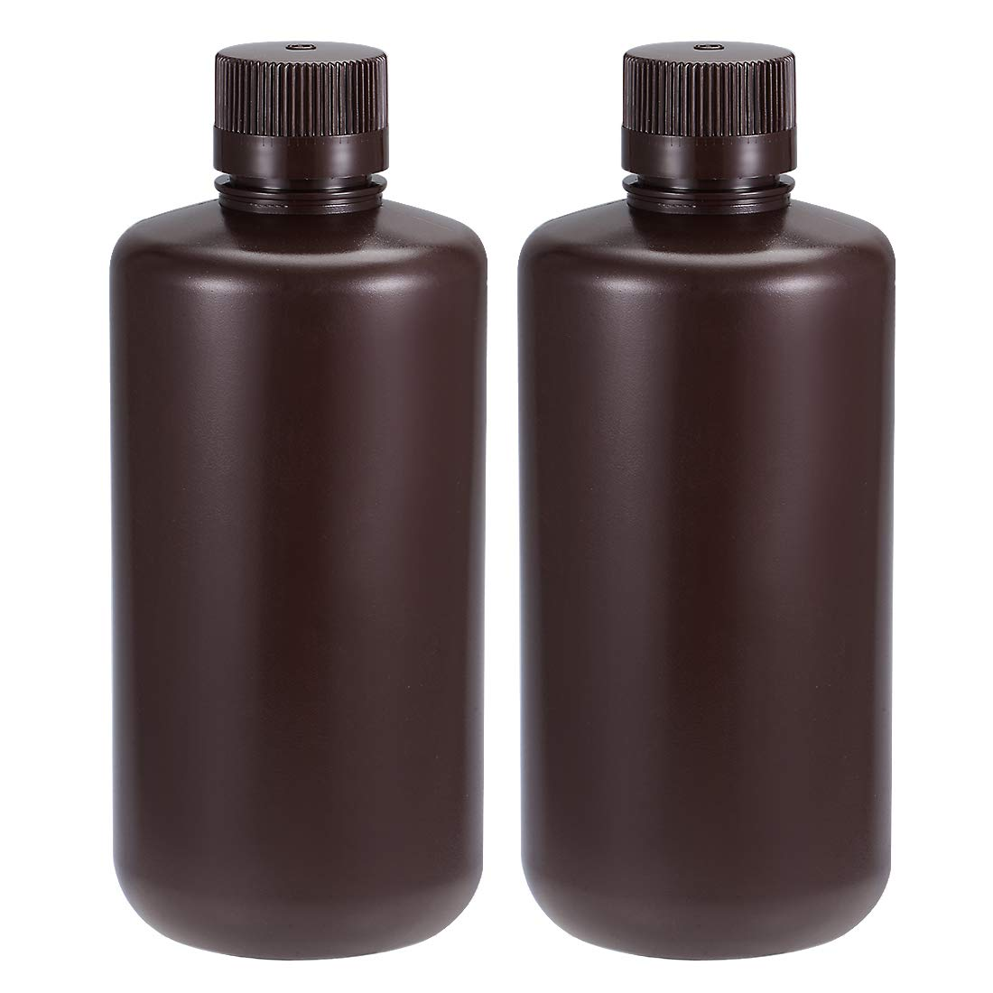 uxcell Plastic Lab Chemical Reagent Bottle 1000ml/33.8oz Small Mouth Sample Sealing Liquid Storage Container Brown 2pcs