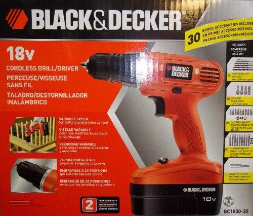 Price comparison product image Black & Decker 18v Cordless Drill / Driver Kit (GC1800-30) + 30 Bonus Accessories