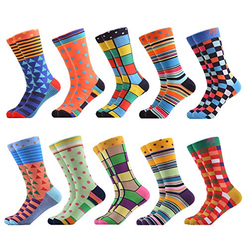 WeciBor Men's Dress Cool Colorful Fancy Novelty Funny Casual Combed Cotton Crew Socks Pack (063-72) -