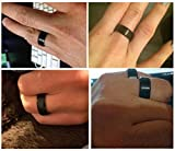 King Will BASIC Men Wedding Black Tungsten Ring 8mm Matte Finish Beveled Polished Edge Comfort Fit
