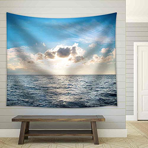 Sea with Blue Water Sky and Clouds Sunset Above Seascape Fabric Wall Tapestry