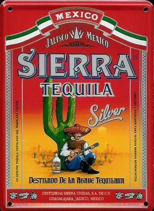 Cartel pequeño de chapa de Tequila Sierra, 8 x 11 cm, estilo ...