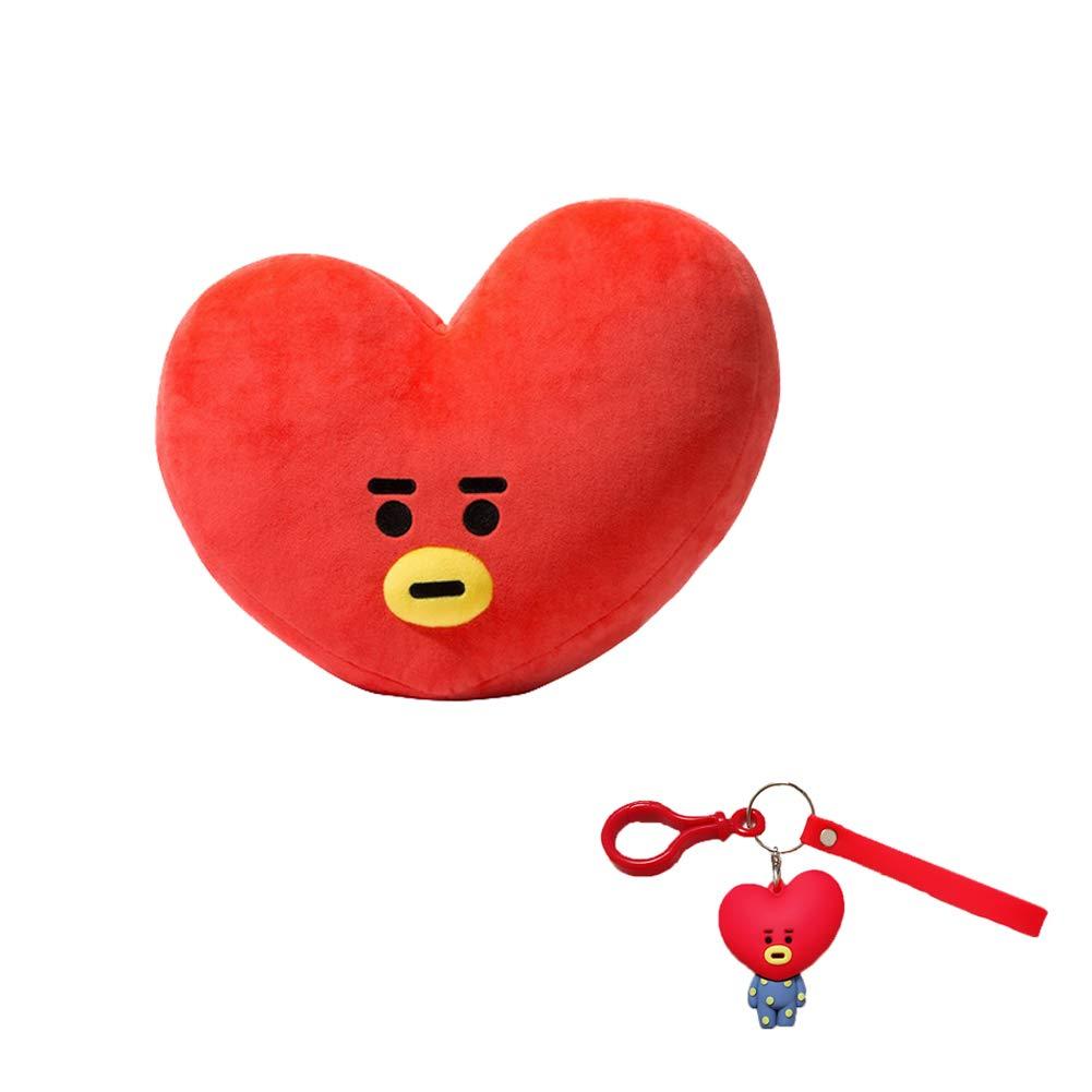 DIY Plush Throw Pillows BTS BT21 Cushion Doll(30x40cm with Cute Cartoon Key Chain (Cooky(Shooky)) D-SONG