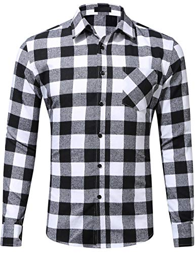 DOKKIA Men's Casual Dress Long Sleeve Buffalo Plaid Gingham Flannel Shirts (Large, Black White Buffalo)