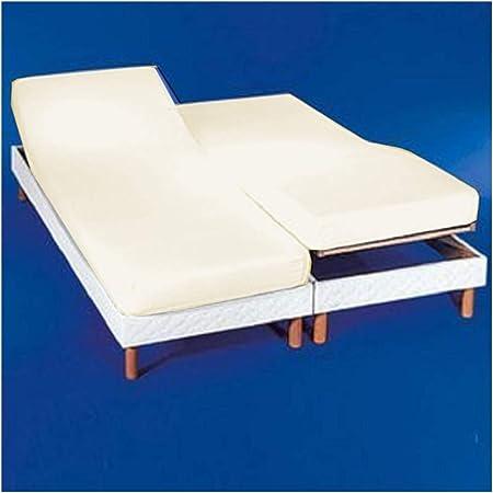 COTTON ARTean Sábana Bajera Ajustable para Camas Dobles articuladas 180 x 190/200. Color Beige. Medida de Cada Cama 90x190/200.Disponible en Blanco.
