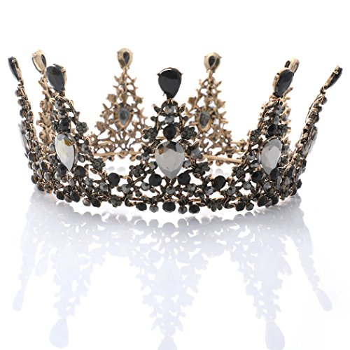 Price comparison product image Yean Wedding Crown and Tiara Flower Bridal Princess Queen Crown Baroque Vintage Rhinestone Headband for Bride and Bridesmaid Black