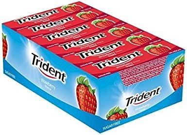 Trident fresa láminas caja de 24 paquetes - chicle sin azúcar: Amazon.es: Alimentación y bebidas