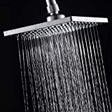 Luxury Square Rain Shower Head with 6-inch Rainfall Face, Stainless Steel Back, Brass Swivel Joint, Full Chrome Finish