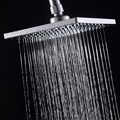 Luxury Square Rain Shower Head with 6-inch Rainfall Face, Stainless Steel Back, Brass Swivel Joint, Full Chrome Finish by FATCAMEL (Image #7)
