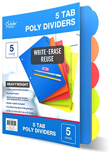 Poly Index Tabs (iScholar 5 Tab Poly Index Dividers, 8.75 x 11