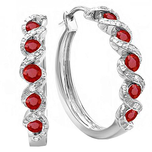 Diamond & Ruby Earrings (Sterling Silver White Round Diamond & Ruby Ladies Hoop Earrings)