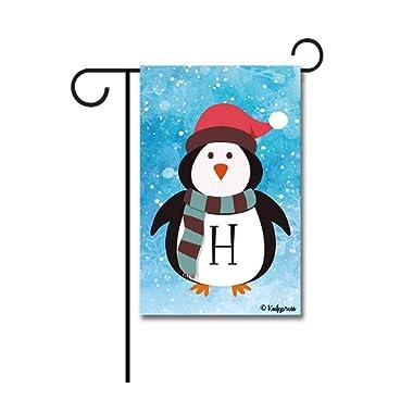 KafePross Cute Penguin in Santa Hat Monogram H Decorative Garden Flag Winter Snow Letter Initial Decor Banner for Outside 12.5 X18  Print Both Sides