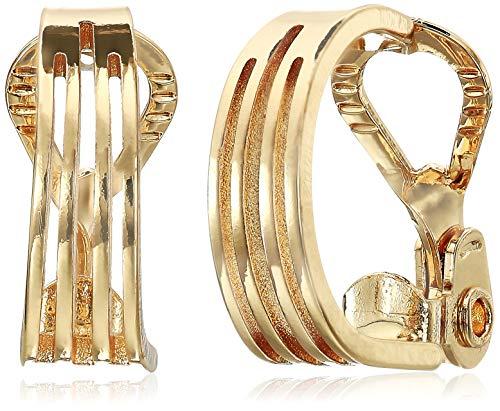 (Napier Women's Gold Ez Comfort Clip Small Layered Hoop Earrings)