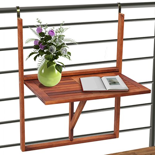 Anself Adjustable Hanging Balcony Table Patio Folding Wall-Mounted Table Wood