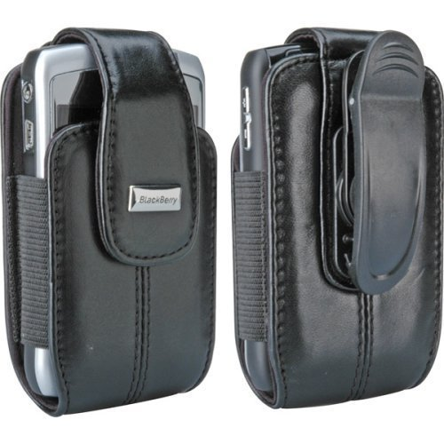 Blackberry Pitch Black Leather Vertical Pouch with Belt Clip for 8300 Series Blackberry Leather Vertical Pouch