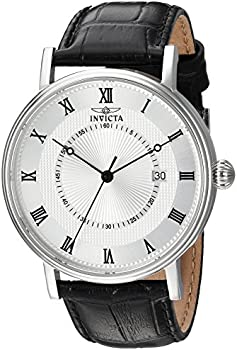 Invicta Vintage Silver Dial Black Leather Men's Watch