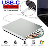 USB-C Superdrive External Slot-in DVD/CD Rewriter USB External DVD/CD Drive Burner for latest Mac Pro/MacBook Pro/ASUS U306UA/ASUS/DELL Latitude with USB-C Port (Silver)