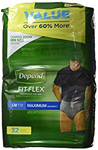 Depend FIT-FLEX Incontinence Underwear for Men, Maximum Absorbency from 11201