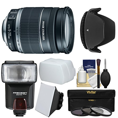 Canon EF-S 18-200mm f/3.5-5.6 IS Zoom Lens with Flash + 3 Filters + Diffusers + Hood + Kit for EOS 7D, 70D, Rebel T3, T3i, T5, T5i, SL1 DSLR Cameras by Canon