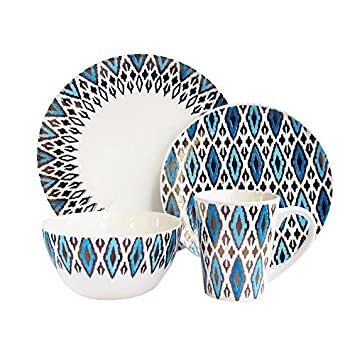 American Atelier 16 Piece Diamond Metallic Round Dinnerware Set, Blue Gold