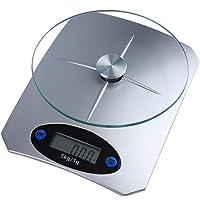ميزان الكتروني للمطبخ، عرض ال يي دي ، أعلى من 1 جرام إلى 5 كيلوجرام، الفضى