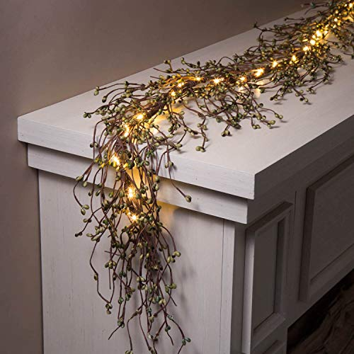 Pip Berry Garland with Lights - 6 Ft Lighted Grapevine with Emerald Green Berries, 100 Bright White LED, Christmas/Holiday Mantle Decor, Battery Operated, Timer Included (Woodsy Christmas Decor)