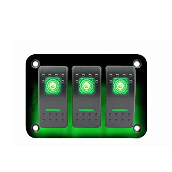 CT-CARID 3 Gang Rocker Switch Panel 12~24V Universal Car Marine Waterproof  LED Toggle Switch Panel with Blue Light