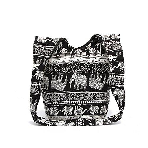 Cotton Zip Purse Hippie Blue Sling Bohemian KARRESLY Bag Hobo Bag Thai Shoulder Top Crossbody Bag Messenger Handmade qUw05