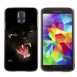 Licase Hard Protective Case Skin Cover for Samsung Galaxy S5 - Dark Panther Cat