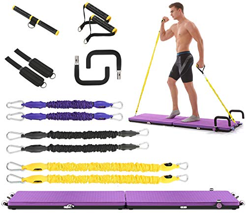 IDEER LIFE Portable Home Gym Workout Package All-in-one Fitness Platform Foldable with Yoga Mat/Resistance Bands/Push Up Bars/Ankle Straps/Handles, Max User Weight 440lbs, Full Body Workout System
