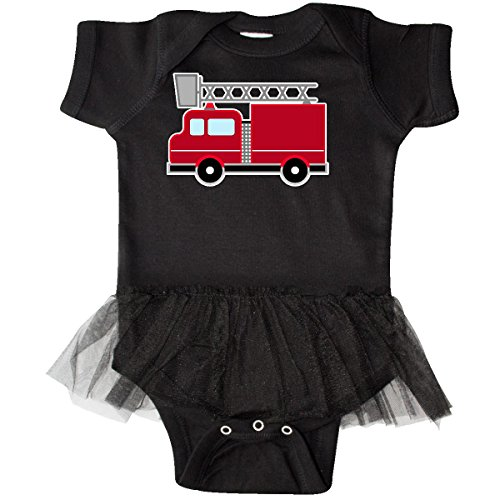 inktastic - red Firefighter fire Truck Infant Tutu Bodysuit 6 Months Black -