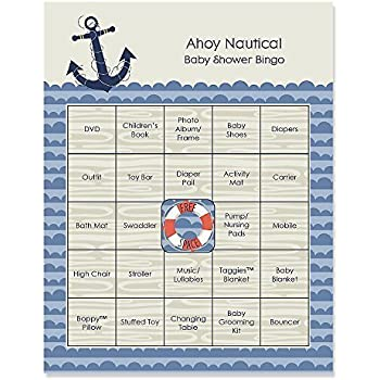 This Item Ahoy Nautical   Baby Shower Game Bingo Cards   16 Count