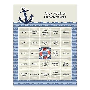 Amazon Ahoy Nautical Baby Shower Game Bingo Cards 16 Count