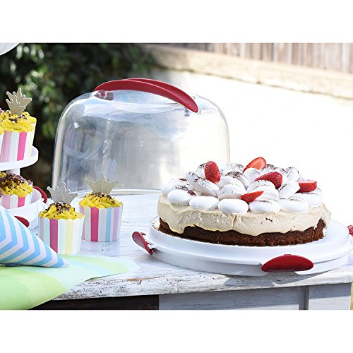 """Price comparison product image """"Clear Cake Carrier with Tight Clasping Latches,  Accommodates two 9"""""""" round cakes,  24 cupcakes and 20 cake pops """" (4)"""