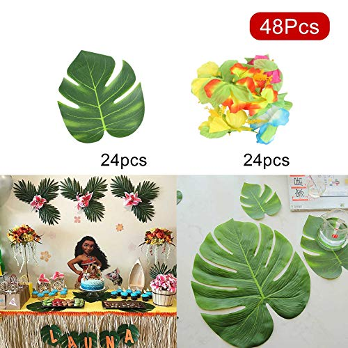 8' Natural Hibiscus Island Decor - Vlovelife 48pcs Tropical Artificial Palm Leaves and Hibiscus Flowers for Luau Party Hawaiian Luau Theme Party Decor Home Garden Decoration