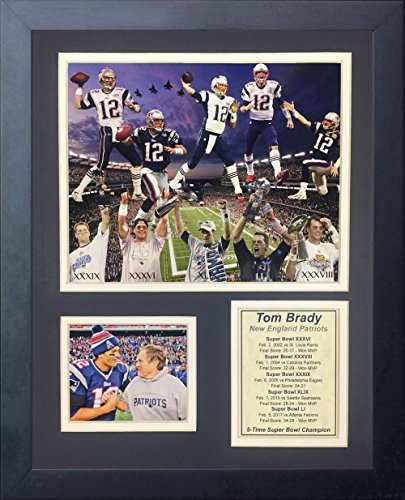 Legends Never Die Tom Brady super Bowl Champion NFL New England Patriots 2016 5X Framed Photo Collage, 11