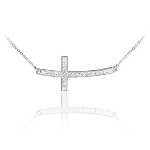 Curved Sideways Cross Stone Studded Necklace