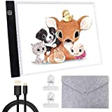 A4 Ultra-Thin Portable LED Light Box Trace Adjustable Light Pad USB Powered with Felt Bag and Clips for Artists Drawing 5D DIY Diamond Painting Craft Weeding Sketching and Animation Design
