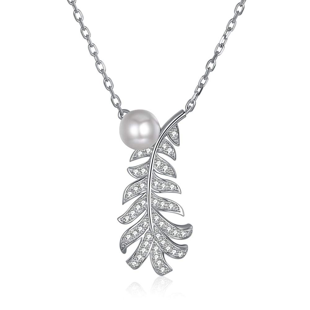 Z1Aiu Necklace S925 Sterling Silver Leaf Pearl Pendant Fashion Temperament Necklace