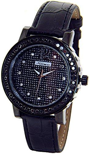 Diamonds Ladies Womens Watch - JOJINO Real 2.00ct Black Diamond Watch Ladies Black Case Black Leather Band MJ-1046A