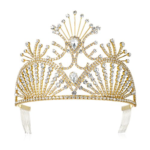 [DcZeRong Gold Tiara Gold Crowns Queen Tiara Gold Pageant Crown Prom Tiaras Gold Women Tiara Crown] (Gold Queen's Tiara)