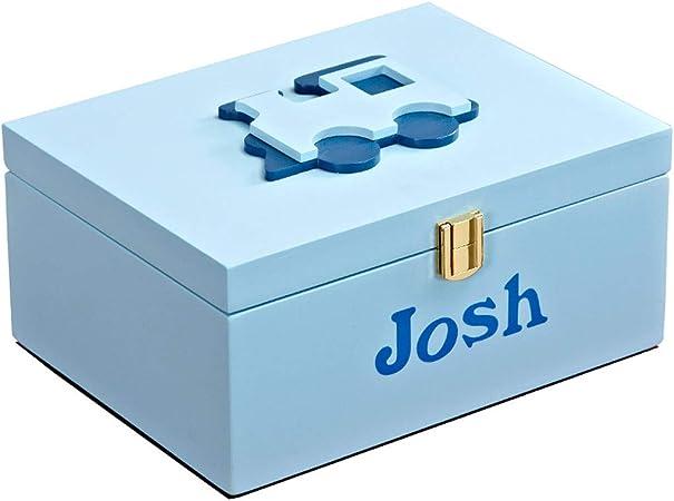 ZDD Caja de almacenaje- Caja de Almacenamiento Azul de Madera del acabamiento de los niños, Caja de Almacenamiento de Escritorio de la decoración casera de la decoración del niño: Amazon.es: Hogar