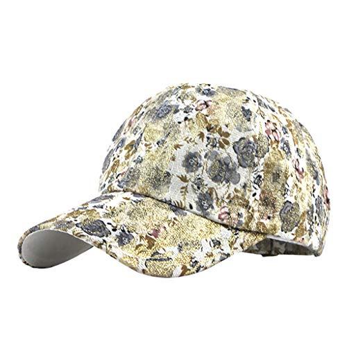 Yucode Unisex Outdoor Flower Printing Cotton Embroidered Unisex Baseball Caps Adjustable Beige ()