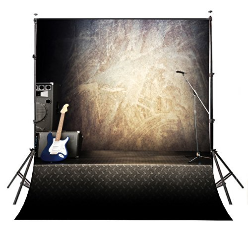 Lyly County Photography Background 5×7ft Polyester Guitar Acoustic Music Equipment Rock Music Stage Photo Backdrops For School & Party Studio Props PB297