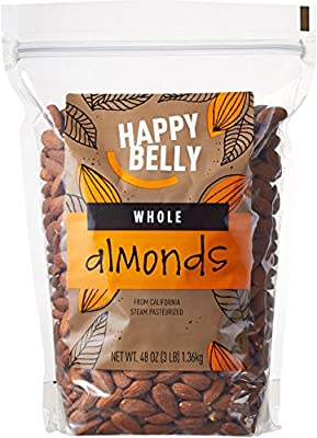 Happy Belly Whole Raw Almonds, 48 Ounce by AFS Brands LLC